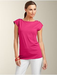 Shoulder-Button Bateau Tee