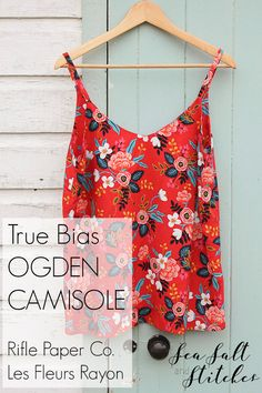 Ogden Camisole in Rifle Paper Co. Les Fleurs Rayon // Sea Salt and Stitches Sewing Patterns Free, Clothing Patterns, Free Pattern, Sewing Projects For Beginners, Sewing Tutorials, Sewing Ideas, Rifle Paper Fabric, Sewing Blouses, Diy Clothing