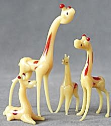 Vintage Occupied Japan Glass Giraffe Family