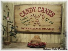 New Primitive Shabby Christmas Candy Canes Santa's Favorite Treat Wood Sign Wall…