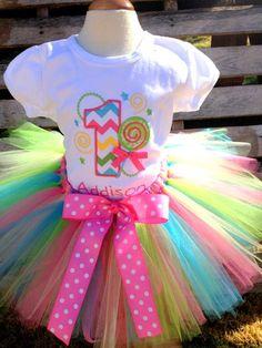 Girls Birthday Shirt AND Tutu, FREE Personalization, Lollipop Birthday, Candyland Party, Birthday, Pageant. $58.00, via Etsy.