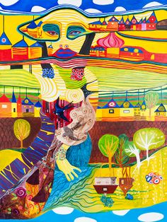 """Between 2 worlds"""" Acrylic on canvas 92 x 122 cm Demonstrates life lived in two worlds. Living in new country, but still hanging on to home on the other side of the world - home, where been raised up. The other side of the painting represents travelling, multicultural environment and colourful life been experienced since living in different country and travelling what's been done."""