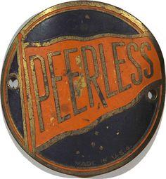 Peerless USA bicycle head badge, early 1900's