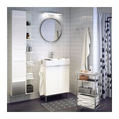 IKEA - LILLÅNGEN, High cabinet with mirror door, white, The shallow sink cabinet is perfect where space is limited. The mirror comes with safety film on the back, which reduces the risk of injury if the glass is broken. Bathroom Sink Cabinets, Bathroom Red, Ikea Bathroom, Mirror Cabinets, Simple Bathroom, Bathroom Furniture, Bathroom Storage, Neutral Bathroom, Ikea Storage
