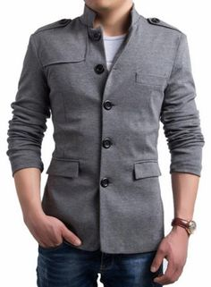 Trendy Stand Collar Slimming Solid Color Epaulet Design Long Sleeve Cotton Blend Casual Blazer For Men