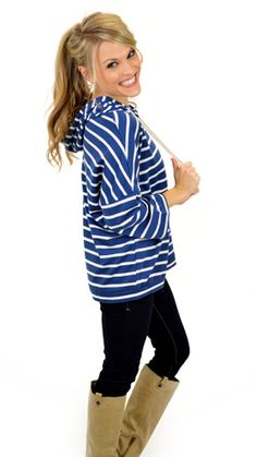 Nautical stripes make everything better! Available in 2 colors: Red and Blue! $36 at shopbluedoor.com