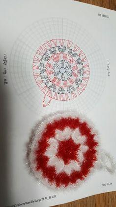 가끔은 쉽고 단순하게 뜨고 싶을때~ 하트모양은 참 많아서 다른 어느분이 만드셨을수 있을거 같다는 생각을... Crochet Motif Patterns, Crochet Diagram, Crochet Chart, Crochet Fish, Crochet Home, Crochet Circles, Crochet Squares, Crochet Dollies, Crochet Flowers