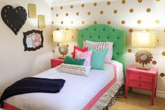 Interior Design: Tween Girl Bedroom Makeover Pink, Navy, Gold and Green - Entertain   Fun DIY Party Craft Ideas