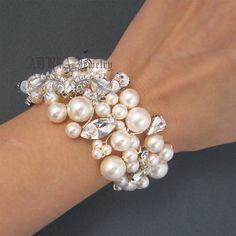 Pulseras de novia marfil boda pulseras de perlas diamantes