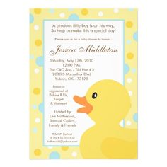 Rubber Duck Baby Shower Invitations | 5x7 Polka Dot Rubber Ducky Baby Shower Invitation from Zazzle.com