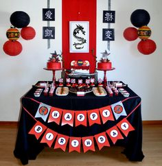 Awesome dessert table at a Ninja Birthday Party! See more party ideas at CatchMyParty.com!