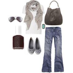 l live in white v-necks, comfy jeans and scarves.