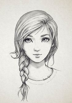 Secrets Of Drawing Realistic Pencil Portraits - Pencil and digital drawings, lines, sketches etc Girl Drawing Sketches, Pencil Art Drawings, Sketch Art, Easy Drawings, Drawing Tips, Girl Sketch, Drawing Ideas, Braid Drawing, Pencil Sketches Of Girls