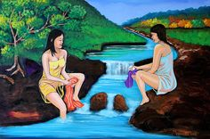 Washing in the River - Acrylic painting by Cyril Maza