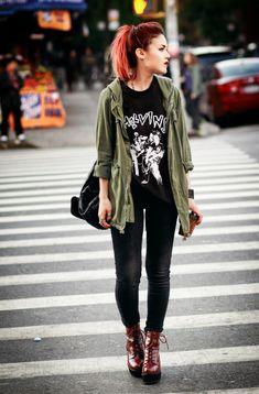 black pants - black t-shirt - green parka - red boots - casual