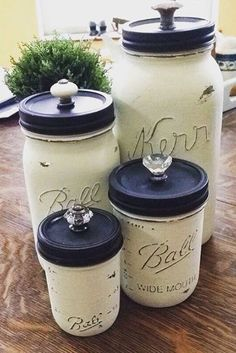 Mason jar canisters other decorated jars, kitchen canisters,