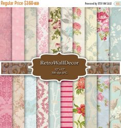 SALE 40% Floral Digital Scrapbook Paper Pack  by RetroWallDecor