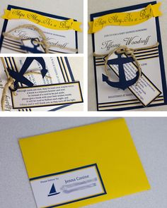 I love this gal's nautical themed baby shower invites! Her blog shows how all her decorations, the cake etc all followed the theme - gorgeous!