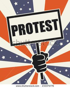 Poster 'Protest'. Bursting colors of the American flag  in the background