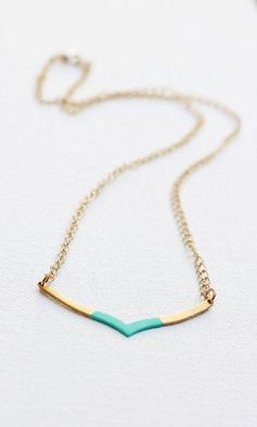 Chevron Geometric Color Dipped Necklace