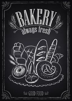 Illustration of Vintage Bakery Poster. Freehand drawing on the chalkboard: bread and other pastries vector art, clipart and stock vectors. Blackboard Art, Chalkboard Lettering, Chalkboard Signs, Bakery Shop Design, Arts Bakery, Vintage Bakery, Bakery Sign, Chalk Wall, Chalk Board