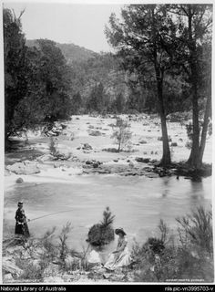 Ladies fishing at Murrumbidgee river, Queanbeyan, New South Wales