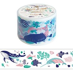 Sea Creatures Japanese Washi Tape - Extra wide 38mm - Ocean Life Whales Fish Aquatic - Sea World. $6