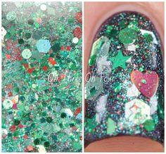 Grinch of the Year contains an assortment of red, green and silver glitters in a green and red shimmery base. These photos are 2 coats over 2 coats over Revlon Wild Violets. Grinch of the Year was a custom for Amy, of Atlcatsmeow.