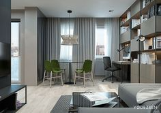 Closed and open shelving + workspace - 5 Small Studio Apartments With Beautiful Design