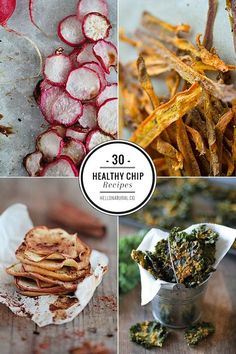 30 Healthy Chip Recipes Hello Glow is part of Healthy chips recipe - Move over potatoes! Here are 30 of the best healthy chip recipes for healthier snacking Gourmet Recipes, Vegan Recipes, Snack Recipes, Cooking Recipes, Radish Recipes, Jar Recipes, Freezer Recipes, Freezer Cooking, Drink Recipes