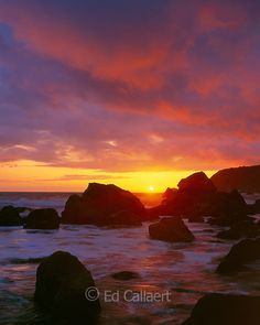 Sunset, Slide Beach, Golden Gate National Recreation Area, Marin County, California