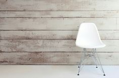 Dining room wall, staggered plank sizes, white washed