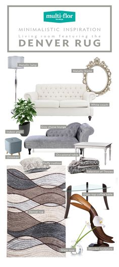 As a finish to a minimalistic-styled living room, the patterned Denver Rug's muted colours are at home. Size: x Chaise Lounge Indoor, Fluffy Cushions, Ottoman Table, White Couches, New Living Room, Muted Colors, Home Look, Denver, Room Ideas