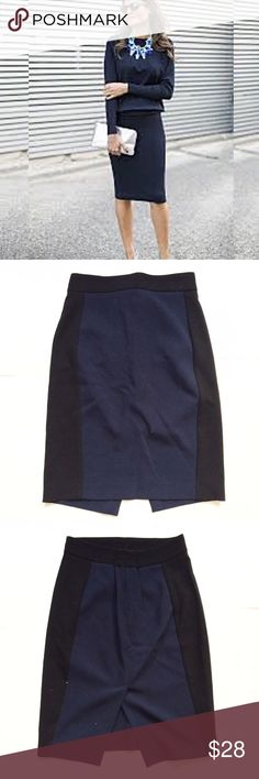Zara Navy Blue and Black Color Block Pencil Skirt Chic! Good condition, measures 28 inch waist, 40 hips and 24.5 inches from the waist to hem. Has stretch. Zara Skirts Pencil
