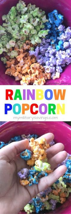 How to make rainbow popcorn! A fun and easy recipe for parties, birthdays and even St. Patrick's Day! Add this to your snack recipes board!