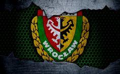 Download wallpapers Slask, 4k, logo, Ekstraklasa, soccer, football club, grunge, Slask Wroclaw, metal texture, Slask FC