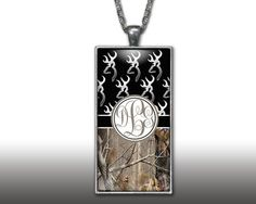 Black Buckhead Camo Monogram Pendant Charm Necklace Browning Personalized Country Girl Custom Initial Necklace, Monogram Jewelry