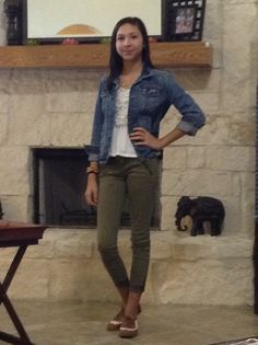Jean jacket, white shirt, olive green pants. Fashionable, but not over doing it. (Outfits for school)