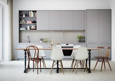 I like: white counter tops and not white walls with not white cupboards.