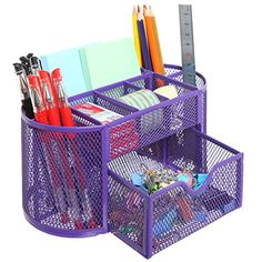 Space Saving Purple Metal Wire 8 Compartment Office / School Supply Desktop Organizer Caddy w/ Drawer MyGift