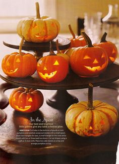 Carve mini-pumpkins from bottom and place over tea lights