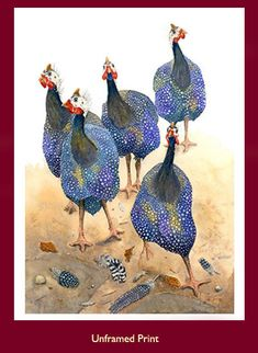 Susan Mitchell, Print and Painting of Guinea Fowl, Scatty Fowl