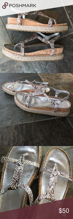Donald J. Pliner Platform Sandals Donald J. Pliner Platform Cleo Sandals, size 10, snake skin straps, cork, and burlap bottoms, with metallic silver soles. Such a cool statement and would jazz up any outfit. Bottoms are like brand new. Donald J. Pliner Shoes Sandals