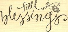 """{Single Count} Unique & Custom (2.75"""" by 1.5"""" Inches) """"Seasons Changing Fall Blessings Text & Blowing Winds Leaf Vine Scene"""" Rectangle Shaped Genuine Wood Mounted Rubber Inking Stamp mySimple Products"""