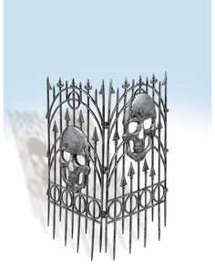Silver Skull Fence Set 2pc