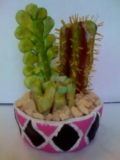 Look carefully - those cacti are made of clay, painted with tempera and coated with gloss medium!. Great lesson plan for a cacti dish gardens made entirely from clay.