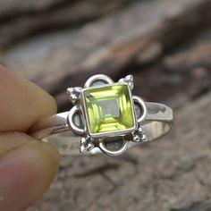 Natural Peridot Gemstone Ring  925 Sterling Silver Ring