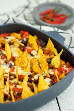Ein Auflauf mexikanischer Art mit Tortilla-Chips Wisst ihr, was eines der ersten Rezepte war, das