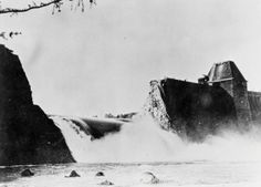 MAY 17 1943 Speer assesses the damage done by the Dambusters The breach in the Mohne Dam four hours after the Dambusters raid in May 1943.
