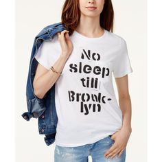 Prince Peter Cotton No Sleep Till Brooklyn Graphic T-Shirt (700 MXN) ❤ liked on Polyvore featuring milk and prince peter